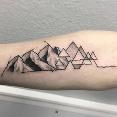 Dotwork Geometric Mountain Tattoo by Skyler Espinoza
