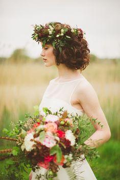 wild at heart autumn wedding inspiration shoot -- flower crown   Paula O'Hara Photography