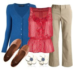 A fashion look from October 2012 featuring Full Tilt tops, Dolce&Gabbana cardigans and Dockers pants. Browse and shop related looks. Cute Work Outfits, Spring Work Outfits, Chic Outfits, Business Casual Outfits, Professional Outfits, Fashion Pants, Fashion Outfits, Fashion Ideas, Women's Fashion