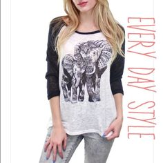 NEWHARMONY elephant print baseball tee HARMONY black and white elephant baseball tee. This lightweight breathable top features a beautiful elephant graphic adorned with tribal print. With its comfy hacci style fabric, this baseball tee puts out a cute, boho vibe. Material: 100% polyester. Available in sizes S,M & L. Please comment what size you need and I will make you a listing :) price firm unless bundled, measurements available upon request! Size small pictured above. Made in the USA…