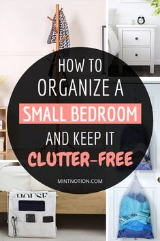 How to organize a small bedroom and keep it clutter-free. Small bedrooms can be challenging to keep clean and organized. Use these tips to help you declutter your apartment bedroom and create a space that feels HUGE! #minimalist #minimalism #homedecor #smallbedroom