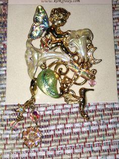 "Kirks Folly ""Moon Flower Fairy"" pin Glass Wings (flash on)"