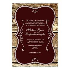 Vintage Rustic Barn Wood Wedding Invitations