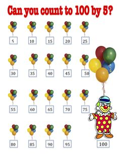 100th Day of School count by 5 poster in fun clown with balloons design