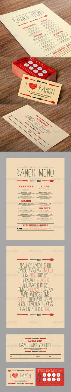 Restaurant Menu, Loyalty Card and Gift Voucher - Food Menus Print Templates