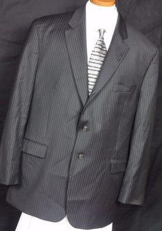 Ralph by Ralph Lauren Men's Black Pinstripe Wool 2 Button Sport Coat Size 50R #RalphByRalphLauren #TwoButton