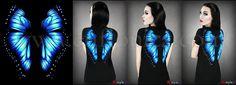Butterfly  #restyle.pl #euflonica #gothic #goth #gothicfashion #tee #T-shirt #restyle #darkfashion #dark #gothicart #darkart #butterfly #wings #blue #bluebutterfly