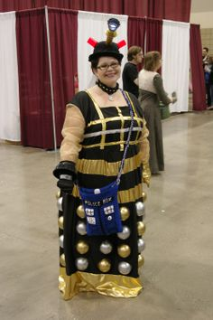 a homemade dalek dress dr who reference creative cosplay planet comicon dalekcosplay costumeshalloween costumeskansas cityfictional