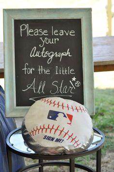 Leave an autograph at a baseball baby shower party! See more party planning ideas at CatchMyParty.com!