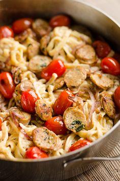 Chicken Sausage Fettuccine Alfredo in Skillet