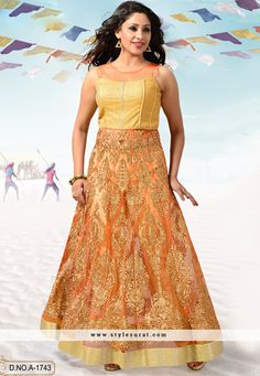 Orange Net Designer Readymade Anarkali Salwar Suit