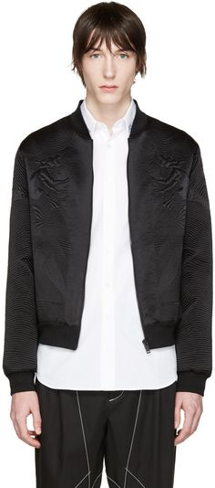 Image of Alexander Mcqueen Black Silk Embroidered Bomber Jacket