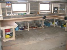 Woodworking Bench Extreme Heavy Duty Work Bench - 9 - Intro: I have an area in the old barn that is unused and I wanted to convert to a 'rough' working place. The floor is unlevelled , which require adjustable f. Workshop Bench, Basement Workshop, Workshop Storage, Workshop Ideas, Workshop Layout, Wood Workshop, Woodworking Bench Plans, Workbench Plans, Woodworking Crafts