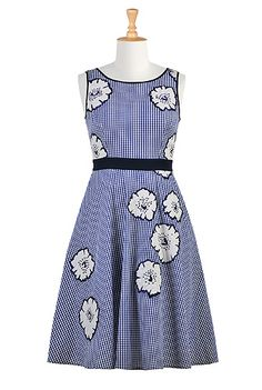 I <3 this Floral applique gingham check dress from eShakti
