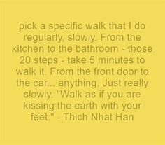 pick a specific walk that I do regularly, slowly. From the kitchen to the bathroom - those 20 steps - take 5 minutes to walk it. From the front door to the car... anything. Just really slowly. Walk as if you are kissing the earth with your feet. - Thich Nhat Han