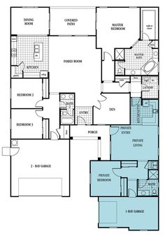 The Olympus - Plan 2935 I think this plan is the one I like most for a multi-generational home. And, I like the idea of the laundry close to both living areas.