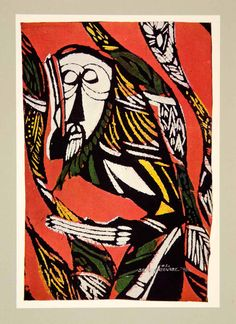 """This is an original 1968 tipped-in color photolithograph of a Japanese woodblock and brush print entitled """"Kiku"""" (Listening) by Watanabe Sadao. It was inspired by the many biblical events in which a character heeds to voice of the Lord or Holy Spirit."""