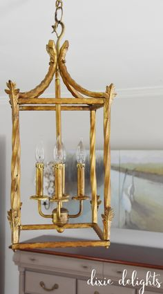 2 easy DIY steps to an antique gold chandelier finish