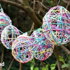 Easter craft - yarn egg garland