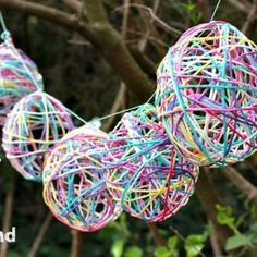 Easter craft - yarn egg garland