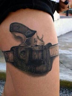 What does gun tattoo mean? We have gun tattoo ideas, designs, symbolism and we explain the meaning behind the tattoo. Tattoo Girls, Cool Tattoos For Girls, Girl Tattoos, Tattoos For Women, Tatoos, Rosary Tattoos, Crown Tattoos, Bracelet Tattoos, Heart Tattoos