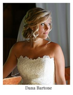 Romantic bridal hair, low updo curls with veil, hairstyle by Dana Bartone.