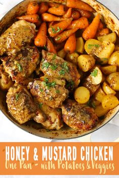 Honey Mustard Chicken - One Pan, Quick and Tasty Dinner Recipe HONEY MUSTARD CHICKEN - Baked Honey Mustard Chicken traybake, for a deliciously sticky and tasty one pan meal. With added new potatoes and carrots for a complete dinner. Honey Mustard Chicken Baked, Baked Chicken, Chicken Potato Bake, Delicious Dinner Recipes, Healthy Recipes, Recipe Tasty, Easy Chicken Recipes, Curry Recipes, Carne