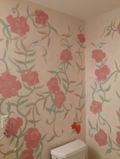 Stylized hand painted floral motif for the guest bath