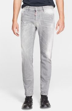 370b81c4693e Men s Dsquared2  Dean  Distressed Straight Leg Jeans (Grey) Grey Pants
