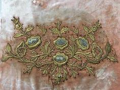 19th ANTIQUE OTTOMAN-TURKISH GOLD METALLIC HAND EMBROIDERED FRAGMENT