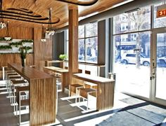 CAFE Coffee shop interior lighting design ideas- long thin tables = more seating