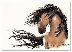 Majestueux chevaux 43 - Friesian peinture de guerre indigènes plumes - ArT Prints ou ACEO Bihrle
