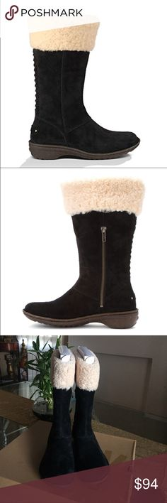 NEW UGG KARYN. Original box This suede mid boot features a plush sheepskin cuff and a woven detail on the rear shaft. The UGG Karen offers a slight rocker-bottom outsole combined with a cozy lining and cushioned insole for a supportive and comfortable fall look. UGG Shoes Winter & Rain Boots