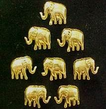 Elephants Gold Decorative Push Pins. Plastic and painted metallic gold with glitter gold outline.  Perfect for an elephant collector, a jungle or safari motif or room decor.