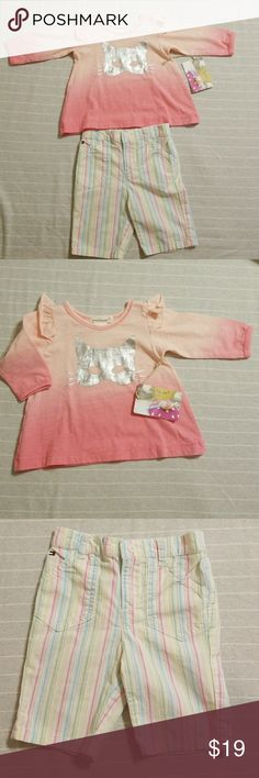 🚼Baby Tommy Hilfiger Pants & everbloom shirt🚼 ♥️🎉BUNDLE THIS LISTING WITH 4 MORE BABY ITEMS AND GET IT FOR $5 EACH LISTING🎉♥️  ❤EVERY ITEM WITH🚼SYMBOL YOU WILL ONLY PAY $5 WHEN YOU BUNDLE 5 ITEMS OR M  Beautiful 3-6 months Tommy Hilfiger pastel stripe Pants with a  super cute 6 Months Everbloom ombre pink long sleeve shirt.  🚼  Shirt is new with tags Pants almost new, no stains.  Every piece of my babies clothes were carefully selected, if not new, it is in perfect condition. Steamed…