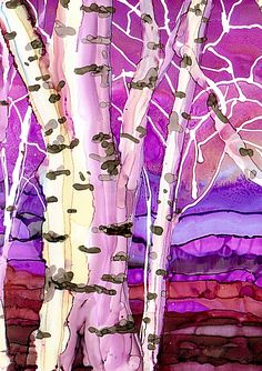 Fall Birches by AlcoholInkArt on Etsy, $6.00
