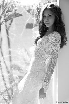 elihav sasson wedding dress 2015 long sleeves sheath bridal gown plunging neckline floral embroidery side