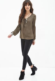 Lace-Up Peasant Blouse | FOREVER21 - 2000119619