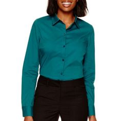 f52d725e5df Worthington Long Sleeve Button Front Shirt JCPenney