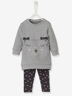 Baby Girls' Dress & Leggings Outfit Set - Grey marl / charcoal print - 1 #toddleroutfits