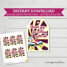 Roller Skate Favor Tags Thank You Card Girls Birthday Party with Matching Birthday Invitation | Instant Download PDF by ImaginationInvites on Etsy