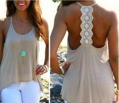 White Patchwork Hollow-out Lace Vest