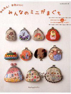 Kawaii Mini Clasp Purse Case - Japanese Pattern Book for Gamaguchi - Felt Applique, Sewing, Embroidery Stitch, Patchwork Design - JapanLovelyCrafts Purse Patterns, Sewing Patterns, Cross Stitch Embroidery, Embroidery Patterns, Sewing Crafts, Sewing Projects, Cute Coin Purse, Purse Tutorial, Diy Handbag