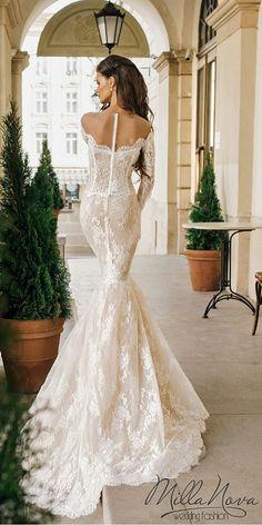 mila nova off shoulder mermaid lace wedding dresses / http://www.himisspuff.com/mermaid-wedding-dresses/12/