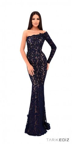 acb330bcce Tarik Ediz Prom Lace One Shoulder Beaded Applique Evening Dress Beautiful Prom  Dresses