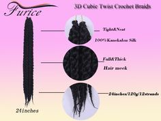 Crochet Hair Extensions 3D Cubic Twist Crochet Braids Blonde Crochet ...