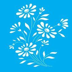 Stencil-para-Pintura-20x15-Flores-LSM-017---Litocart Quilting Stencils, Free Stencils, Stencil Templates, Stencil Patterns, Stencil Art, Stencil Designs, Paint Designs, Flower Stencils, Border Embroidery Designs