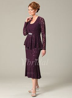 Mother of the Bride Dresses - $145.44 - Sheath/Column Scoop Neck Tea-Length Lace Mother of the Bride Dress With Lace Beading (0085055963)
