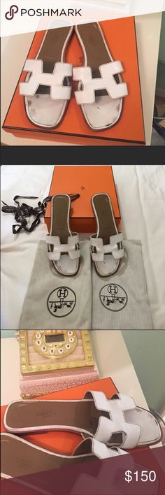 Authentic White Oran Hermes In good condition! With box and dustbag Hermes Shoes Flats & Loafers