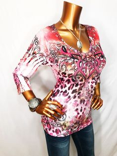 One World Live and Let Live L Top Beads Gems Stretch Dye 3/4 Sleeve Blouse Shirt  | eBay